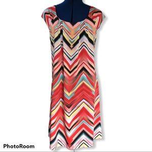Tiana B | Chevron Stretch Shift Dress
